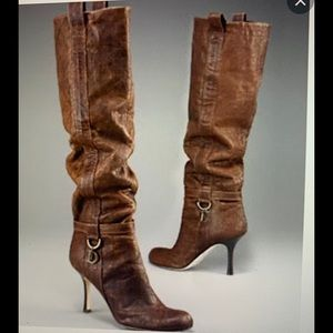 DIOR Cannage Knee High Boots Dark Brown 39.5 M